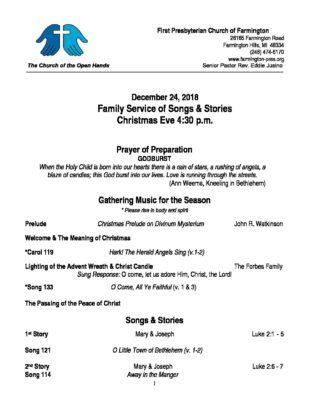 Christmas Eve 4 30pm Family & Children's Songs & Stories